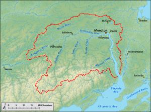 La rivière Petitcodiac arrose Moncton et Dieppe.